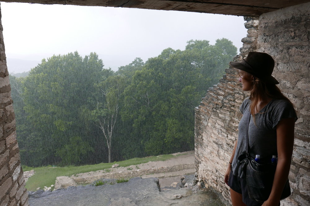 Keeping rain at Xunantunich r uins