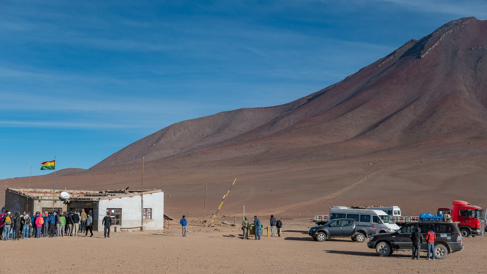 The line behind the buildings is the border between Chile and Bolivia