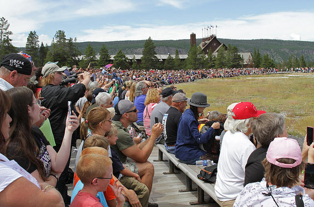Crowd of Tourists at Old Faithful - ©️ Yellowstone NPS