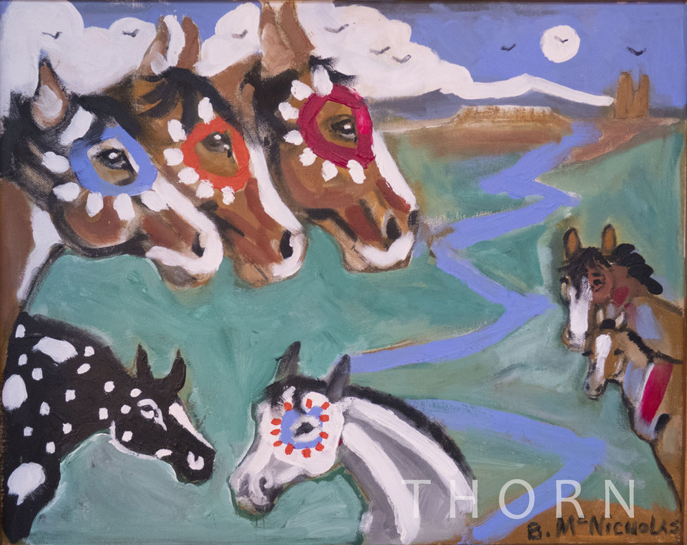 """THREE HORSE HEADS    Click on image for size and material options.   Prints Available From $27 - $340  Original 20""""w x 16""""h  Artist: Brian McNicholas"""