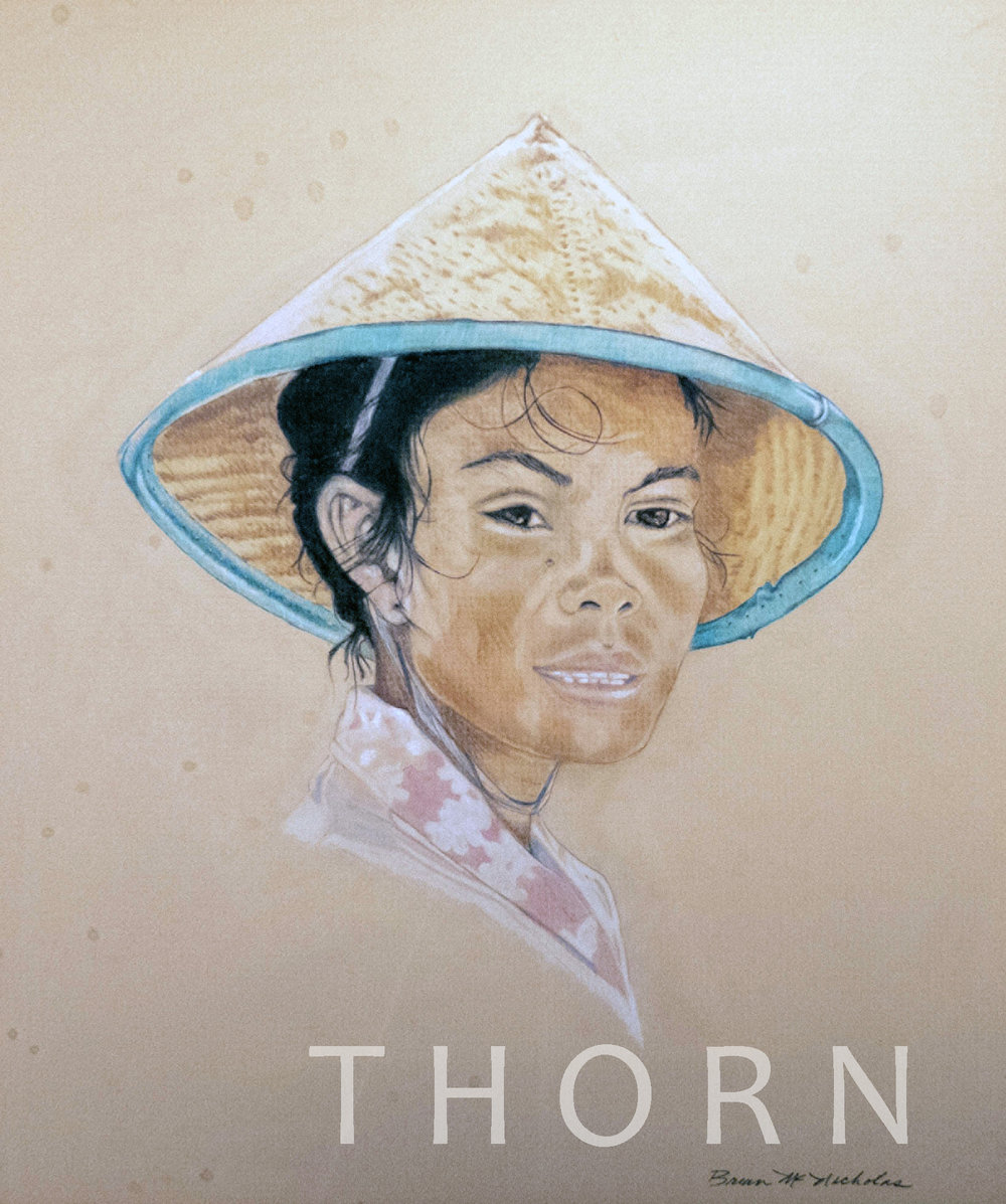 """VIETNAMESE WOMAN WITH HAT    Click on image for size and material options.   Prints Available From $27 - $305  Original Art 14""""w x 15""""h  Artist: Brian McNicholas"""