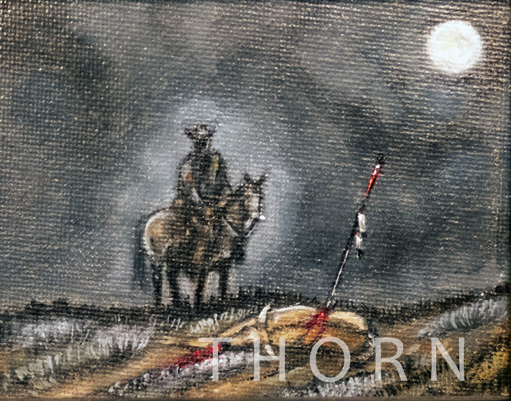"""COMANCHE WARNING    Click on image for size and material options.   Prints Available From $27 - $125  Original 5""""w x 4""""h  Artist: Brian McNicholas"""