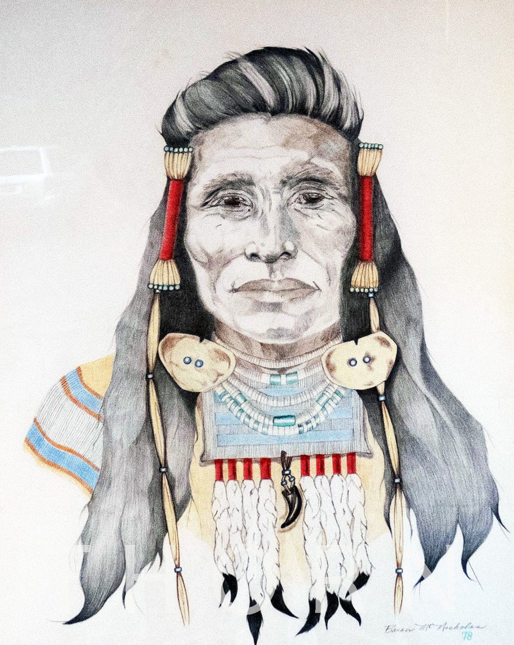 """INDIAN CHIEF WITH RED BRAIDS    Click on image for size and material options.   Prints Available From $27 - $305  Original 15""""w x 18""""h  Artist: Brian McNicholas"""