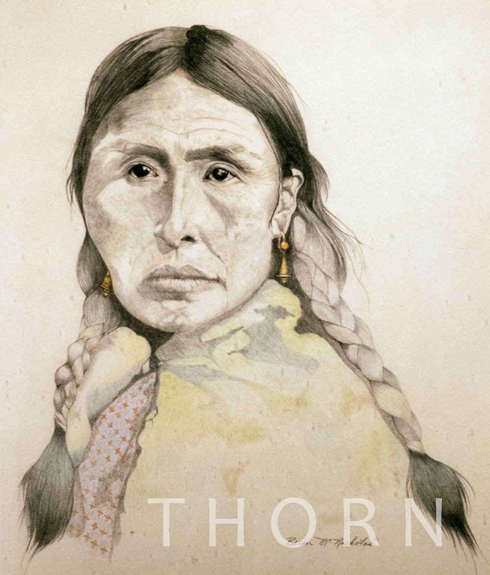 """INDIAN WOMAN WITH LONG BRAIDS    Click on image for size and material options.   Prints Available From $27 - $305  Original 13""""w x 14""""h  Artist: Brian McNicholas"""