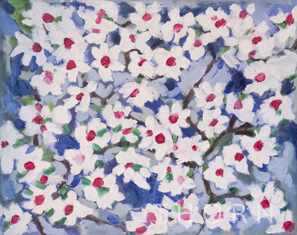 """CHERRY BLOSSOMS    Click on image for size and material options.   Prints Available from $27 - $340  Original Art 20""""w x 16""""h  Artist: Brian McNicholas"""