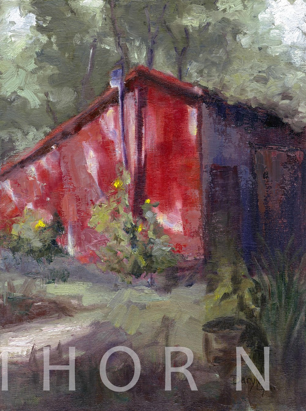 "THE RED SHED    Click on image for size and material options.   Prints Available from $27 - $305  Authentic Oil 11""w x 14""h  Original Art Sold  2012  Artist: Daryle Lynn Cornelison"
