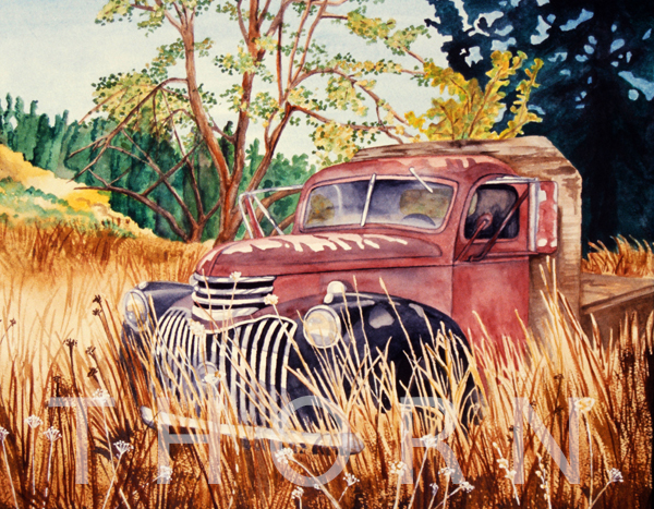 1948 Flatbed Chevy    Click on image for size and material options.   Prints Available From $27 - $340  Watercolor  Original Art For Sold  1998  Artist: Karen Thornberg