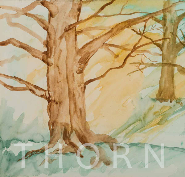 """BIG TREE    Click on image for size and material options.   Prints Available from $45 - $195  Authentic Watercolor on Archival Paper, 17""""W x 13""""H  Original Art for Sale $500  1999  Artist: Karen Thornberg"""
