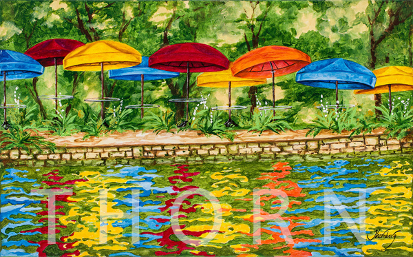 """ORANGE UMBRELLA    Click on image for size and material options.   Prints Available from $89 - $385  Acrylic On Canvas, 32""""W x 20""""H  Original Art for Sale $1,500  2017  Artist: Karen Thornberg"""
