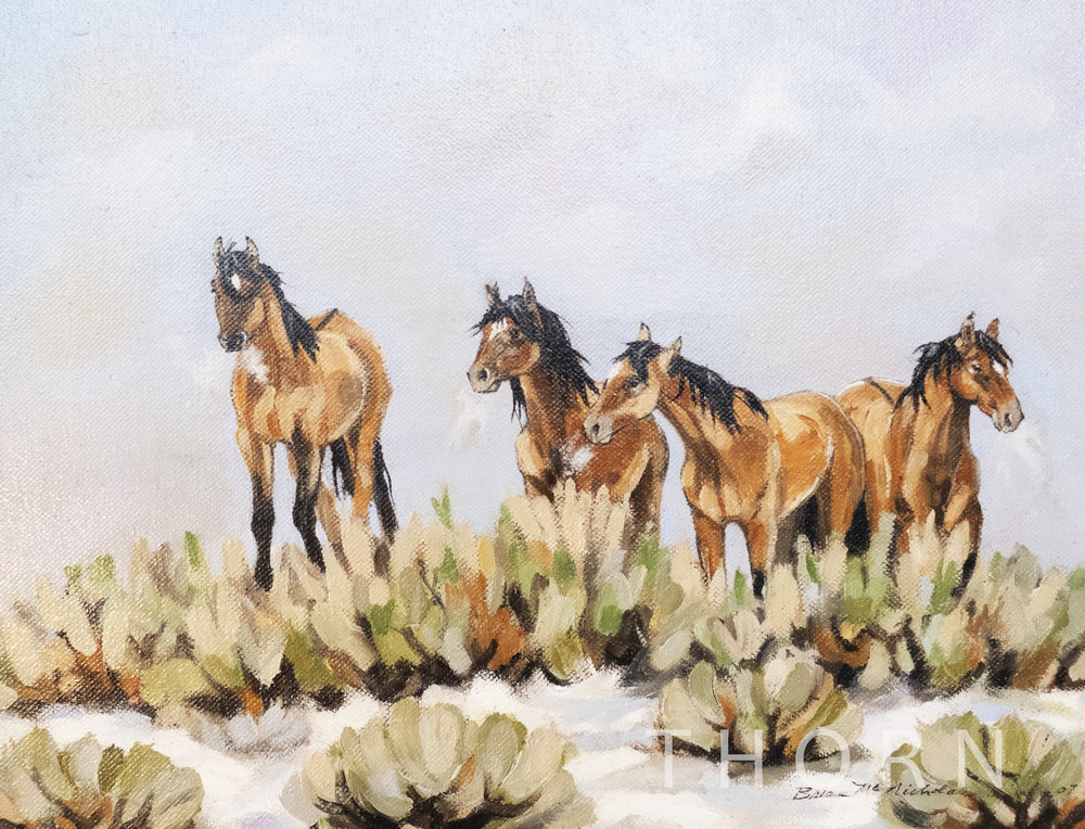 """FOUR HORSES AT THE WATER HOLE    Click on image for size and material options.   Prints Available From $27 - $305  Original 14""""w x 12""""h  Artist: Brian McNicholas"""