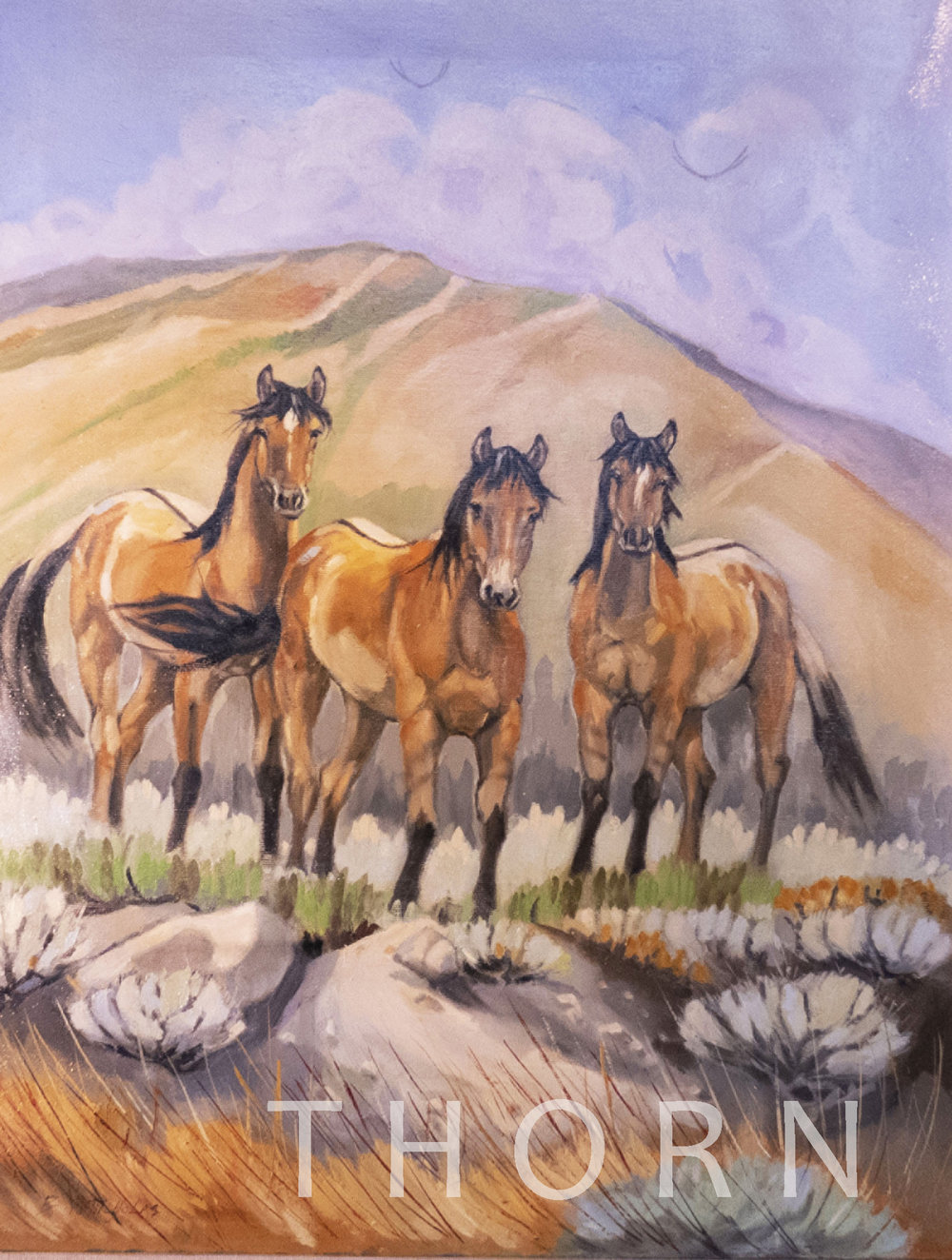 """NIGER MUSTANGS    Click on image for size and material options.   Prints Available From $27 - $345  Original 16""""w x 20""""h  Artist: Brian McNicholas"""
