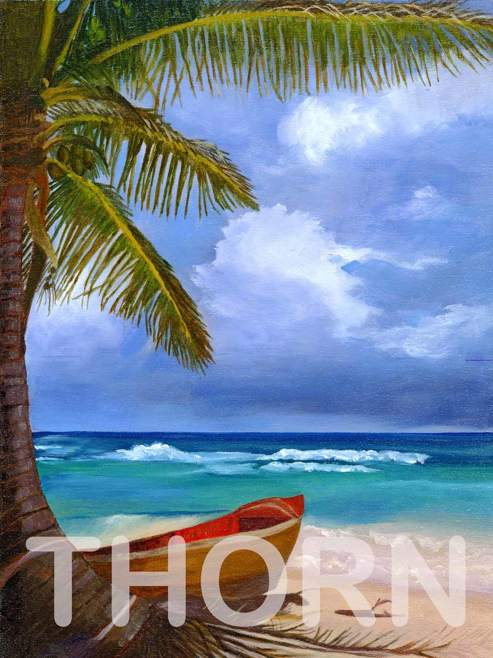 "TROPICAL WATERS    Click on image for size and material options.   Prints Available from $27 - $340  Authentic Acrylic 12""w x 16""h  Original Art For Sale $495  2005  Artist: Daryle Lynn Cornelison"