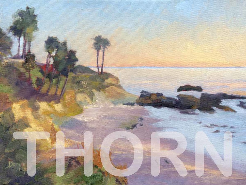 """LAGUNA COVE    Click on image for size and material options.   Prints Available from $27 - $345  Authentic Oil 12""""w x 9""""h  Original Art Sold  2012  Artist: Daryle Lynn Cornelison"""