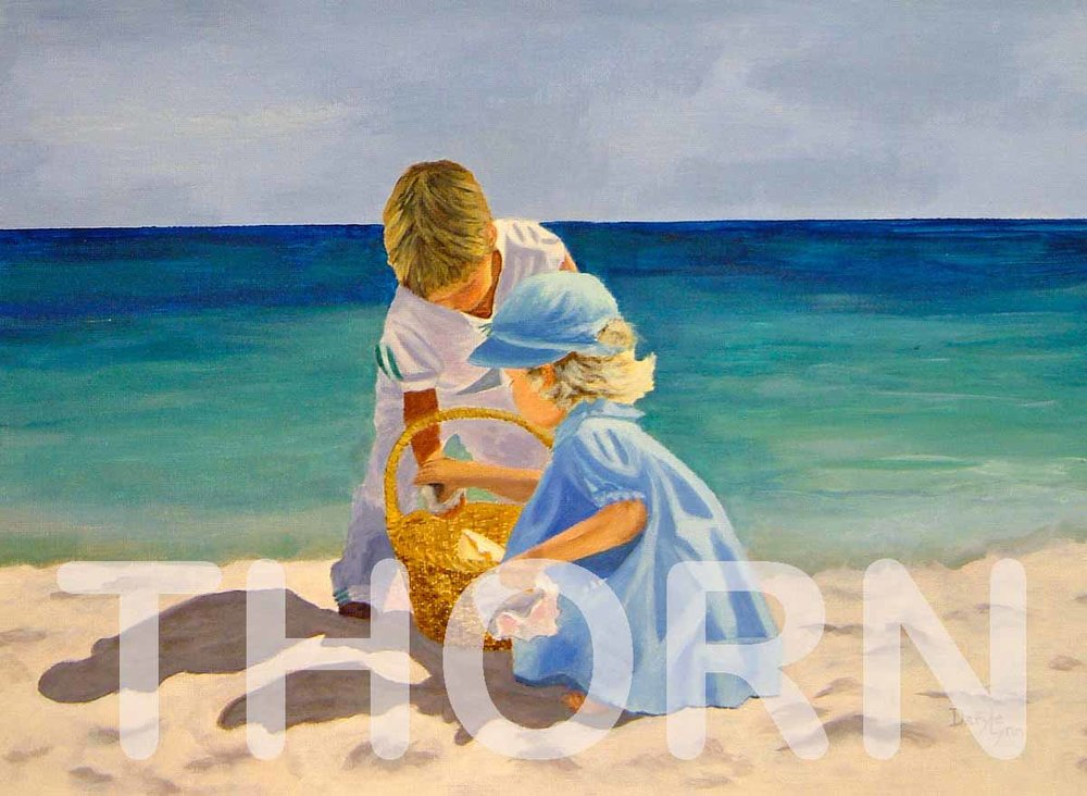 """BEACH DAY PLAY    Click on image for size and material options.   Prints Available from $27 - $310  Authentic Oil 20""""w x 16""""h  Original Art For Sale $495  2006  Artist: Daryle Lynn Cornelison"""