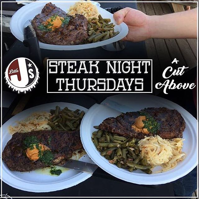 Houston's newest steak night.  Sous vide filet or a hearty ribeye paired with 2 seasonal sides for only $18. Every Thursday at Little J's! • • • #houston #washingtonave #htown #htx