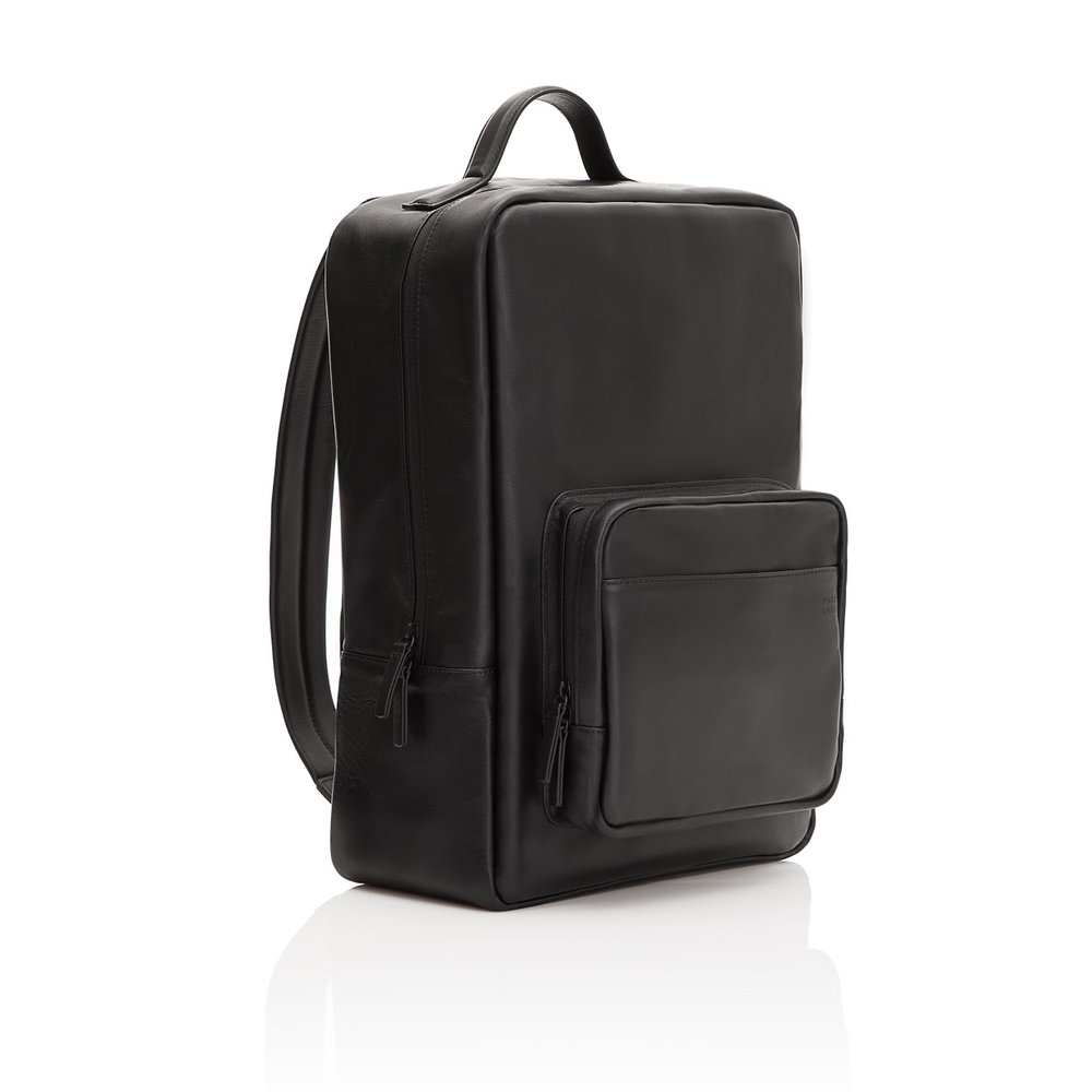 Park Lake Black Leather Backpack