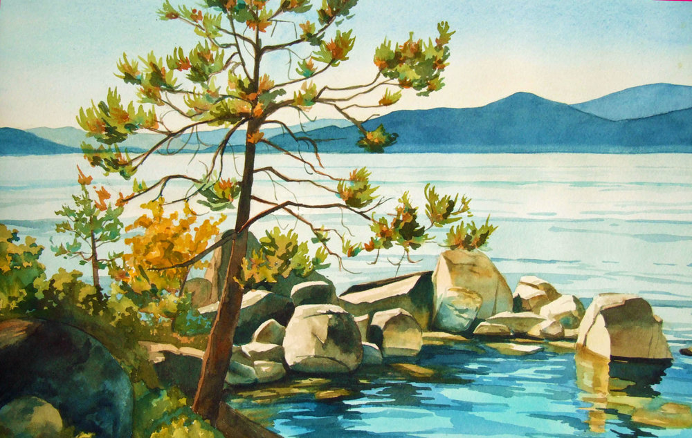 custom watercolor and oil paintings lake tahoe, california, nevada, alpine, pine trees, wedding, engagement, anniversary gift, 1st year paper, family, still life, floral, using customers photos B Smiddy Artwork