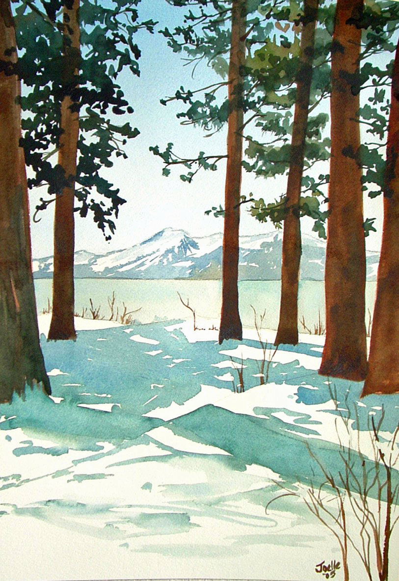 custom watercolor and oil paintings lake tahoe, california, nevada, alpine, pine trees, snow, winter, wedding, engagement, anniversary gift, 1st year paper, family, still life, floral, using customers photos B Smiddy Artwork