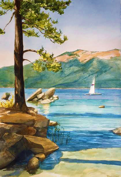 custom watercolor and oil paintings lake tahoe, california, nevada, alpine, pine trees, sail boat, wedding, engagement, anniversary gift, 1st year paper, family, still life, floral, using customers photos B Smiddy Artwork