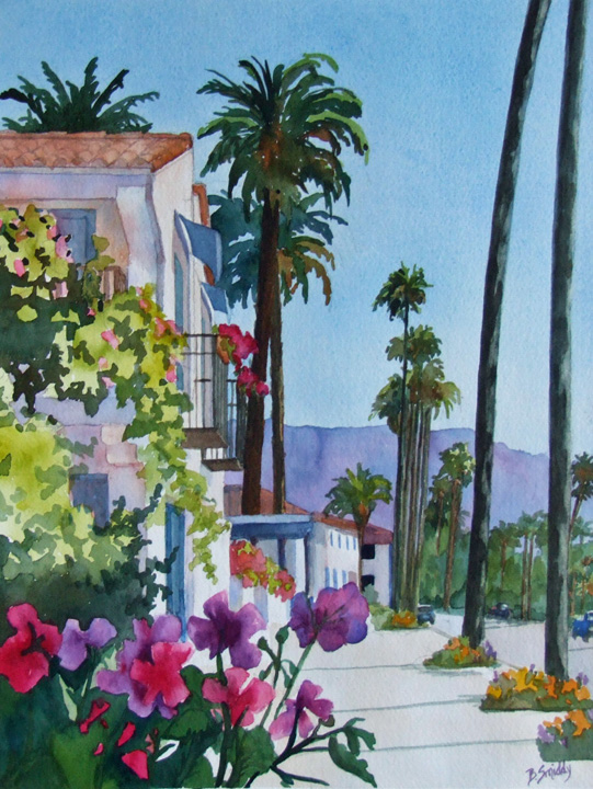 custom watercolor and oil paintings Santa Barbara, California, wedding, engagement, anniversary, Palm trees, beach,  gift, 1st year paper, family, still life, floral, using customers photos B Smiddy Artwork