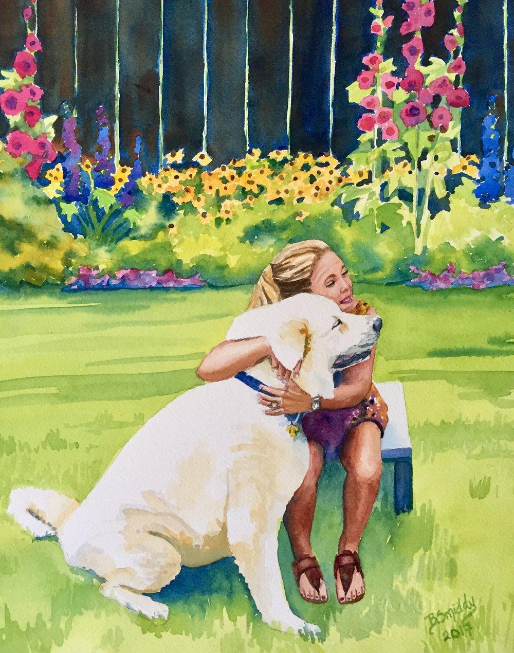 Custom watercolor dog portrait painting