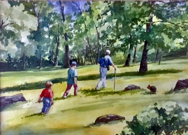 custom watercolor and oil portrait painting family, children and pet dog using customers photos B Smiddy Artwork