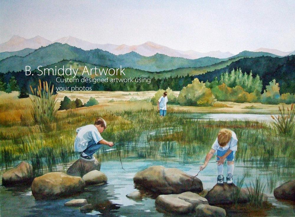B. Smiddy Reno Lake Tahoe Custom watercolor children portrait painting