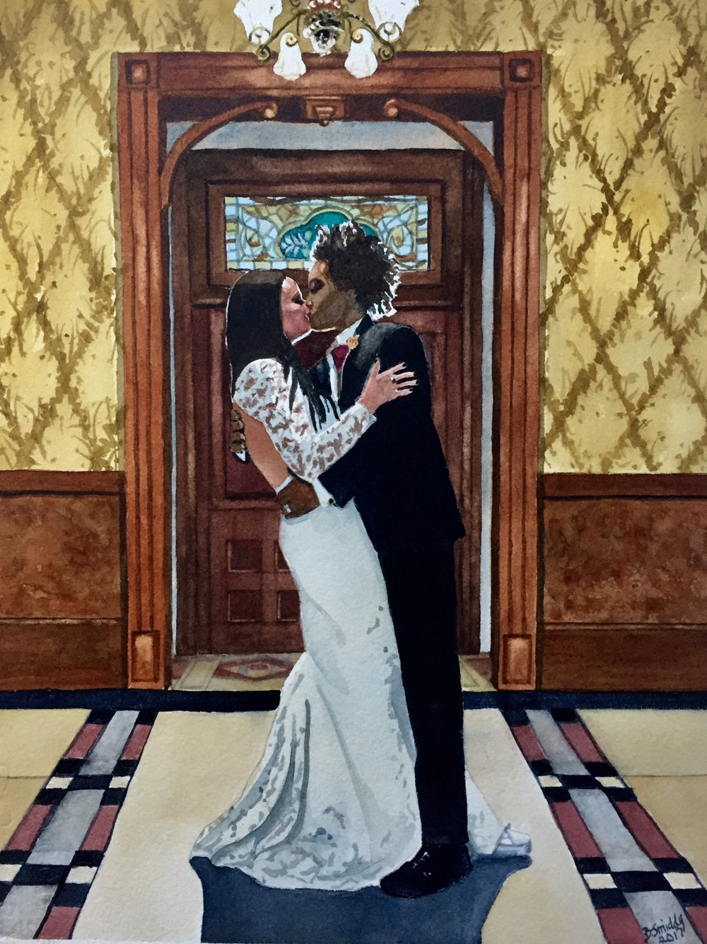 Wedding anniversary 1 year gift custom paintingmarriage