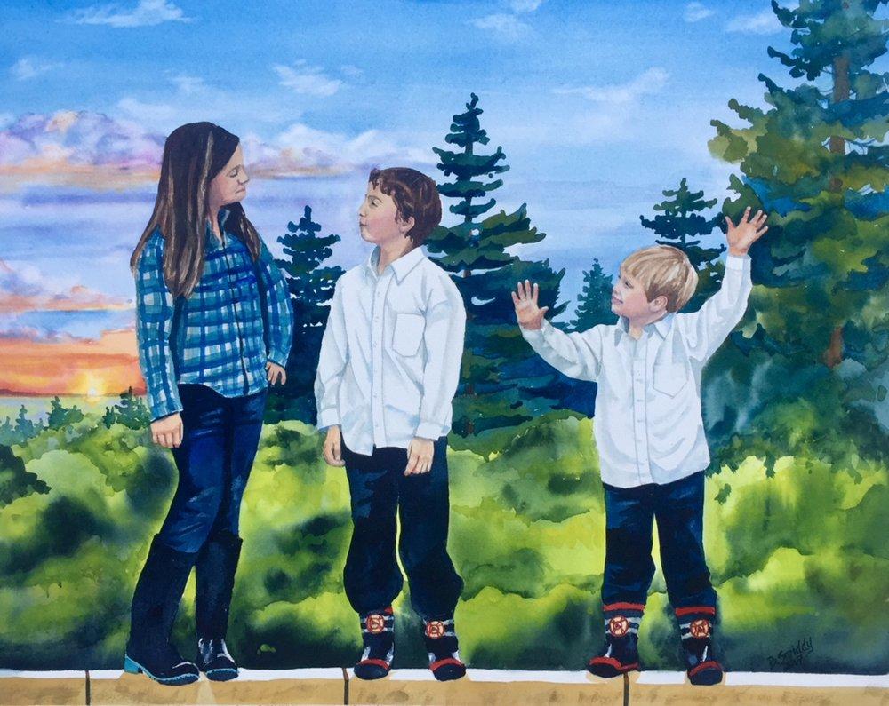 custom watercolor family portrait paintings