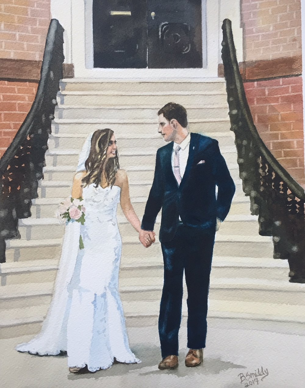 B. Smiddy Reno Lake Tahoe Custom watercolor wedding portrait painting