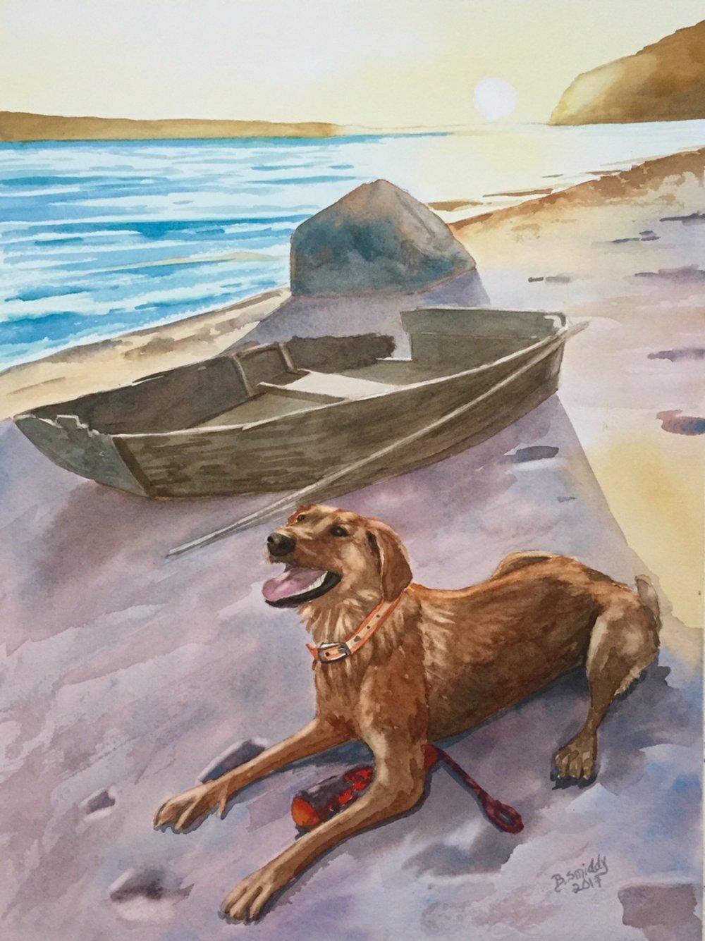 B. Smiddy Reno Lake Tahoe Custom watercolor pet portrait painting