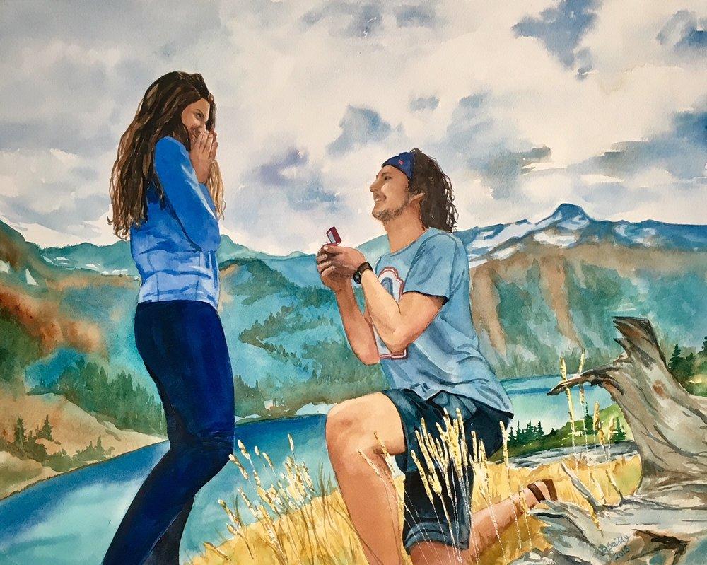 B. Smiddy Reno Lake Tahoe Custom watercolor engagement portrait painting