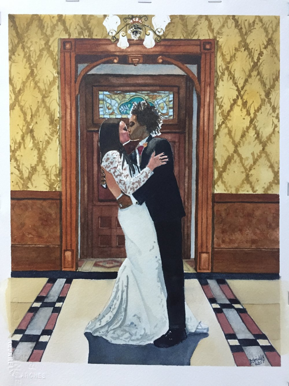 Custom watercolor wedding  portraits from photos