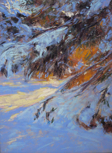 Snow Laden Pine Pastel 18x14 SOLD.jpg