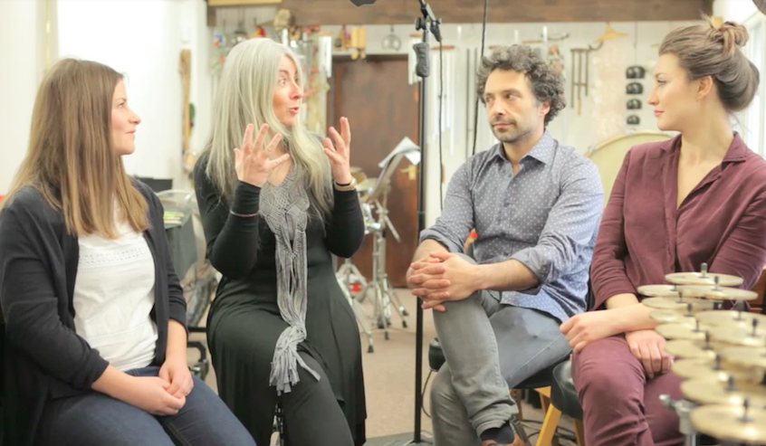 Dame Evelyn Glennie  and  Jered Sorkin , composers of  Whilrpool Film's score , discuss the composing process with Whirlpool directors  Elizabeth Dixon  and  Kate Baxter