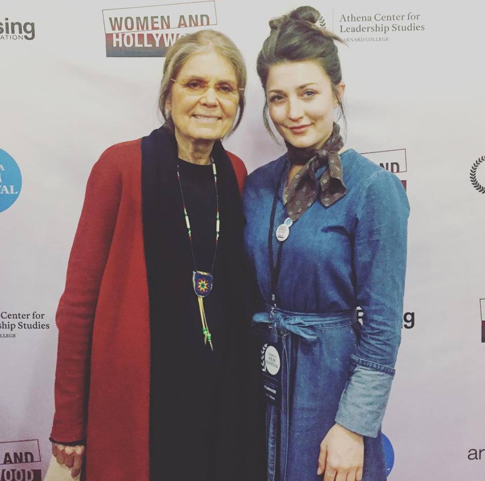 Kate Baxter stands with Gloria Steinem after screening Whirlpool short film, about Helen Keller