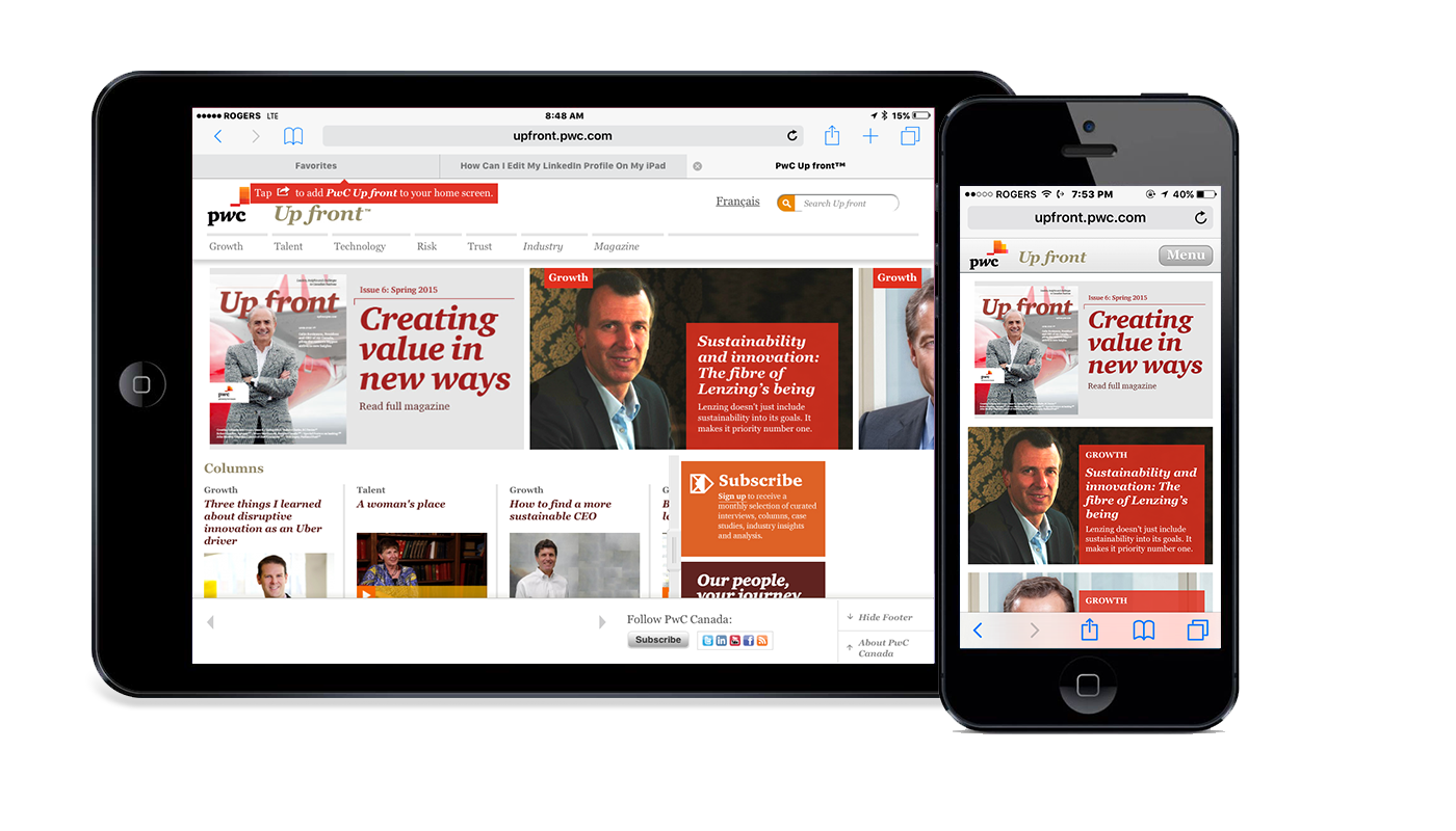 PwC Canada | Up front Digital Magazine | Responsive web site and mobile app - Design architect - Art direction