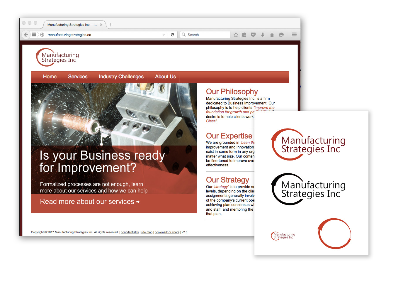 Manufacturing Strategies Inc. | 2011 - Logo and identity - Web design - Business cards and office templates