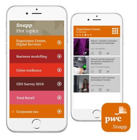 PwC Canada | Snapp internal sales app - iOS application strategy - Responsible for design and functionality - Development oversight