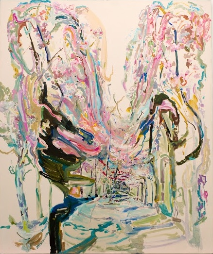 "Rachel Rossin. ""Cherry Blossoms"" 2015. Oil on Canvas. 72 x 60 in."