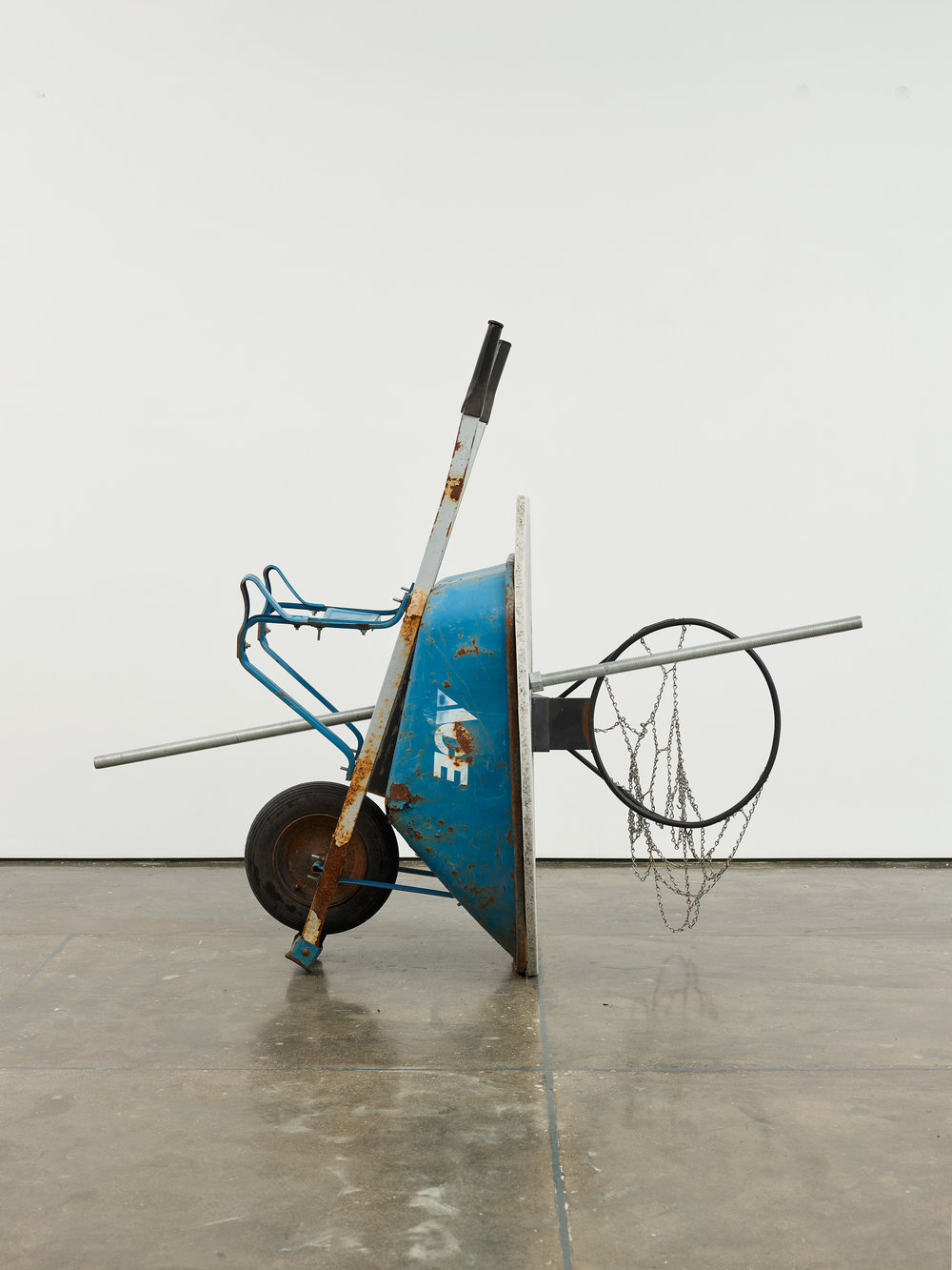 "Evan Robarts. ""Halftime."" 2016. Wheelbarrow, Basketball Hoop."
