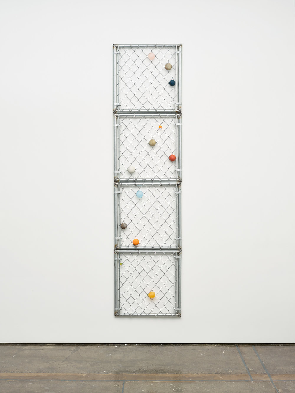 "Evan Robarts. ""Biscayne Bay."" 2016. Ball in Chain Links Form. 96 x 24 in."