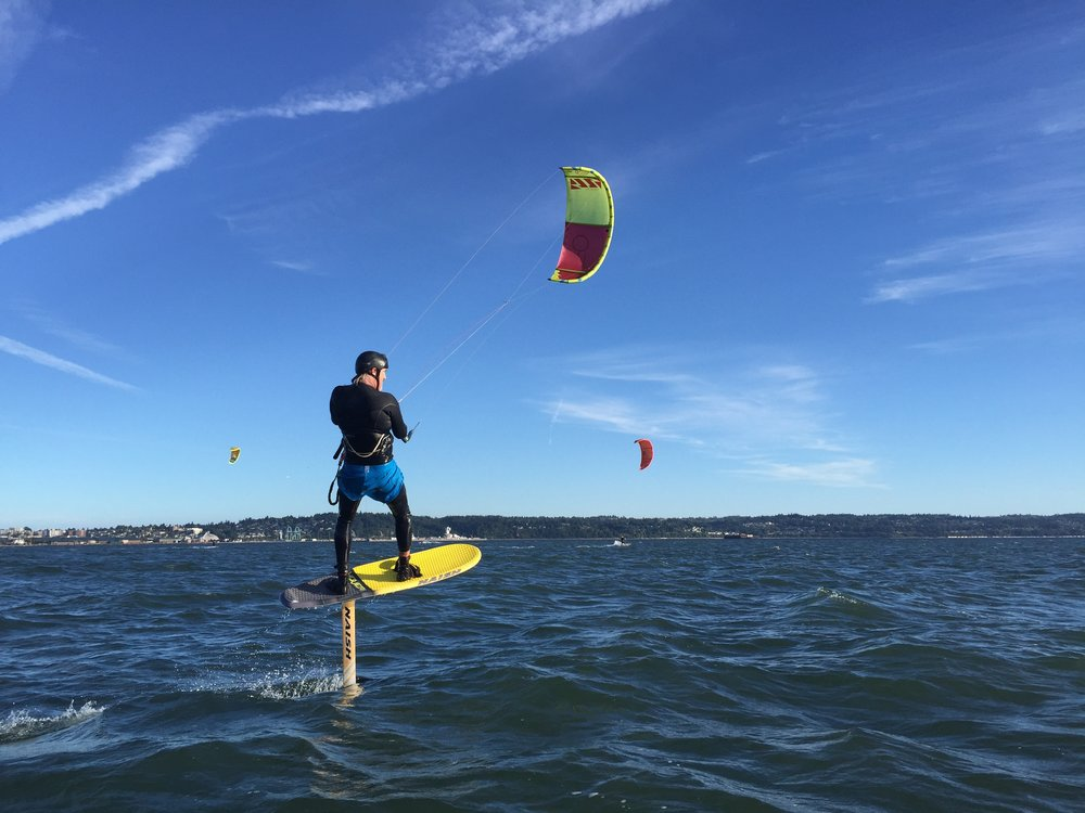 FOILBOARD TRAINING $150 / hour (min 2 hours) - Learning to Kiteboard on a foilboard opens up the boundaries of the sport. Join us for a 2 hour jetski and radio helmet supported training day.