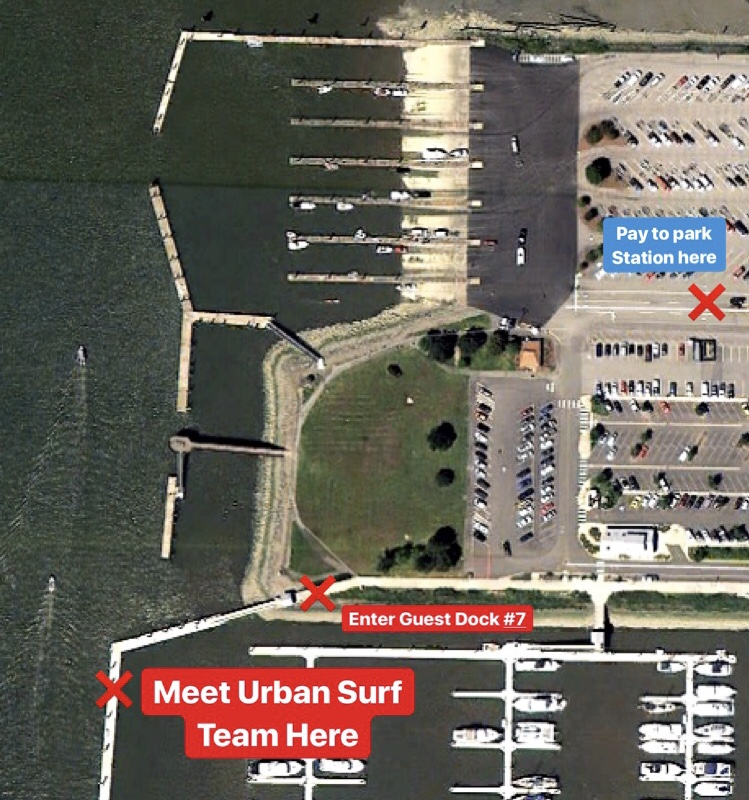 Meet us on the corner of   Guest Dock #7  at the 10th St Boat launch in Everett Wa, across the small grass field to the south of the boat launch for transport to Jetty Island.   Look for our Inflatable RIB boat or Red Jetski's on the corner of this dock for transport.   ($3 Parking Fee during Summer)