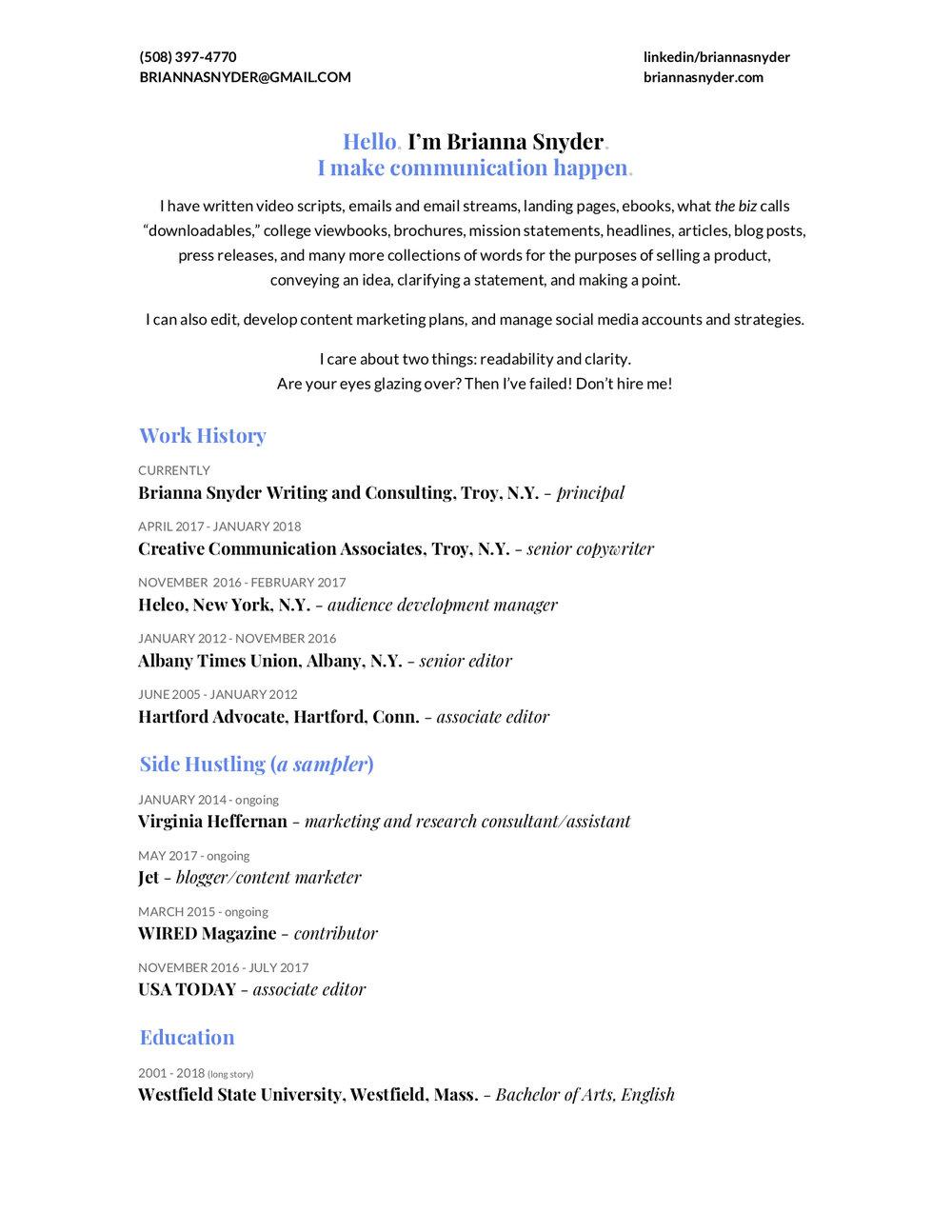 My Resume — Brianna Snyder