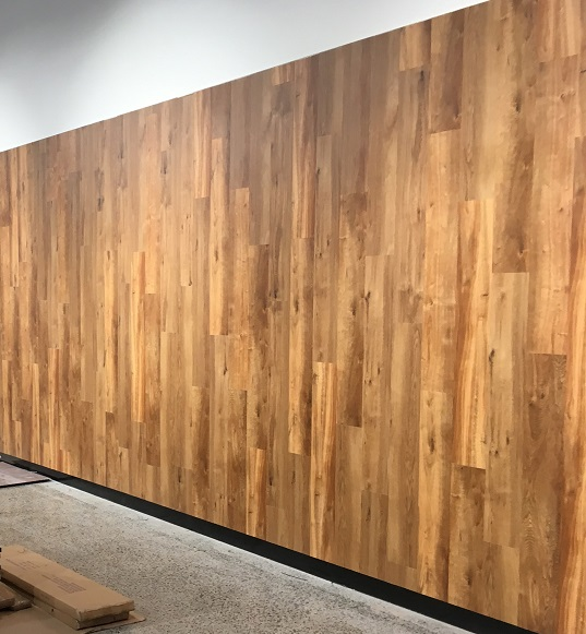 Image above was taken on a Commercial job we did in Spencer Street, Melbourne and is a great example of using vinyl to create a feature wall in a commercial environment.