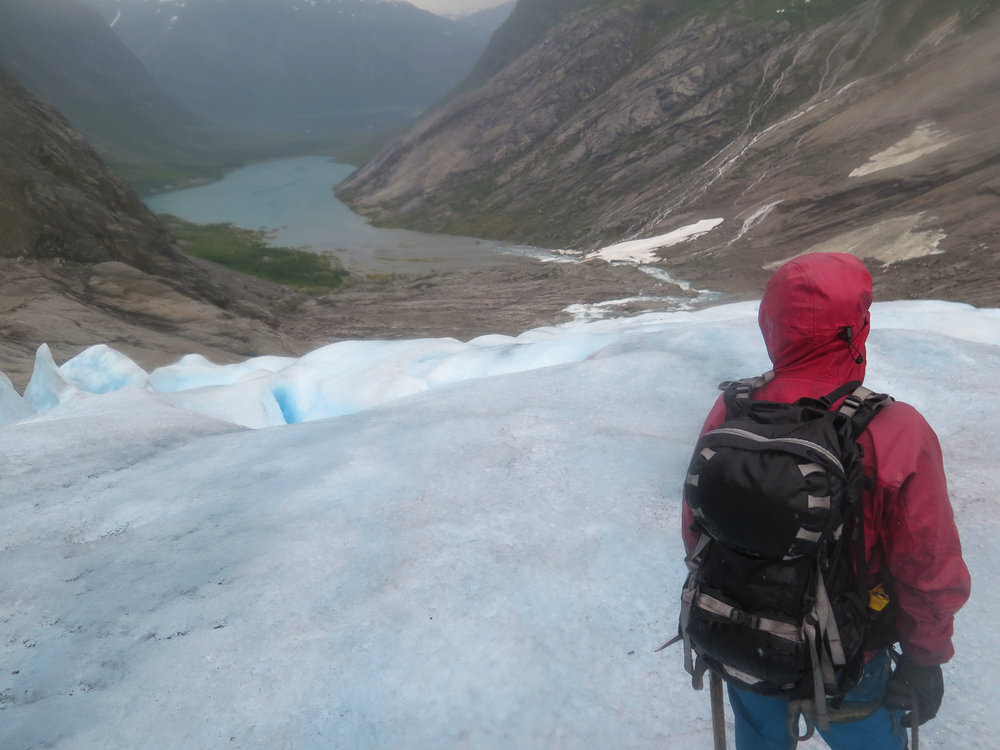 View down from the glacier