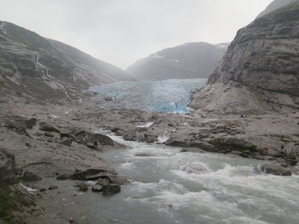 water rushing from the glacier