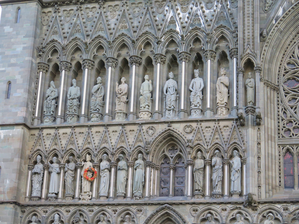 Intricate sculpting outside Nidaros Cathedral