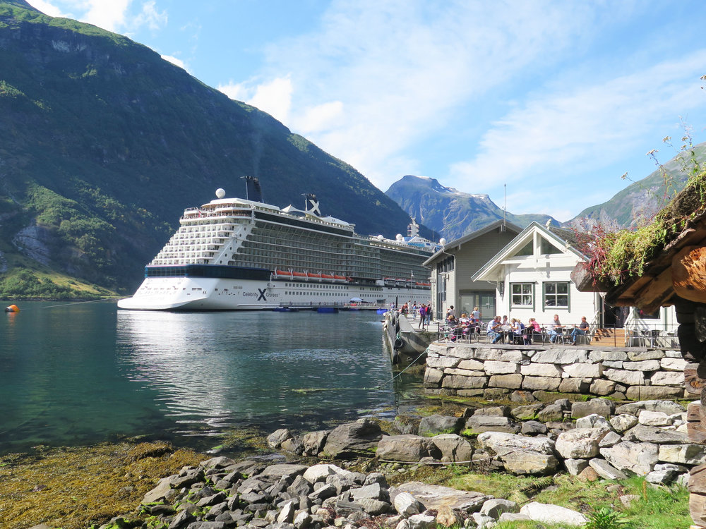 restaurant in the town of Geiranger. Notice the cruise ship in the back :)